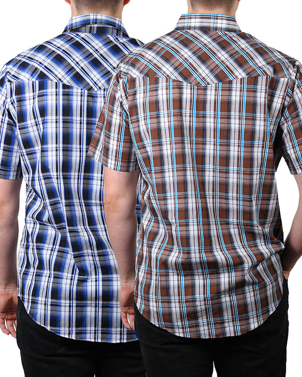 Ely Cattleman Men's Plaid Snap Asssorted Short Sleeve Shirt, Multi, hi-res