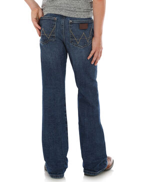 Wrangler Retro Boys' Slim Relaxed Boot Jeans, Dark Blue, hi-res