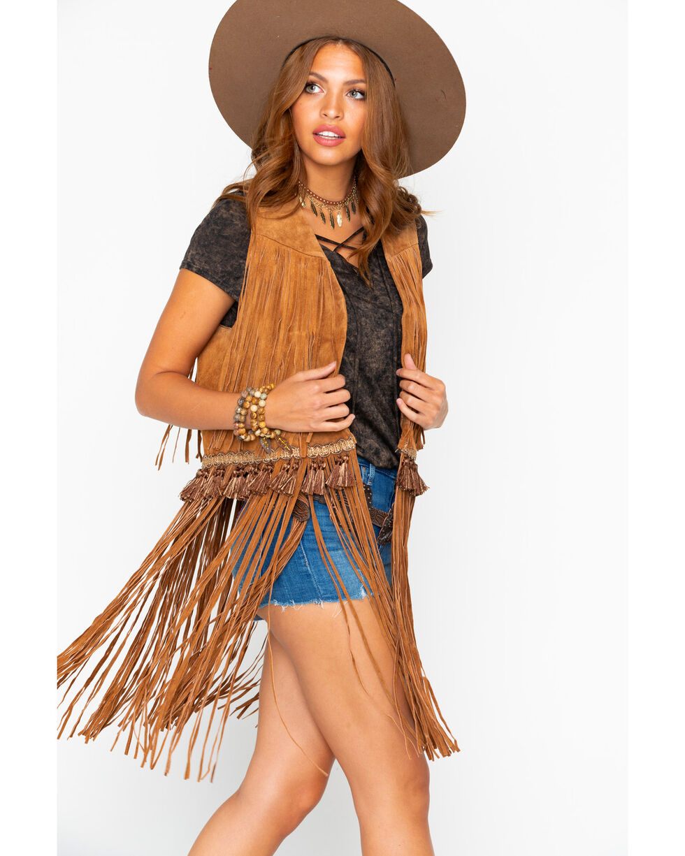 Cripple Creek Women's Solid Open Front Fringe Leather Vest , Cognac, hi-res