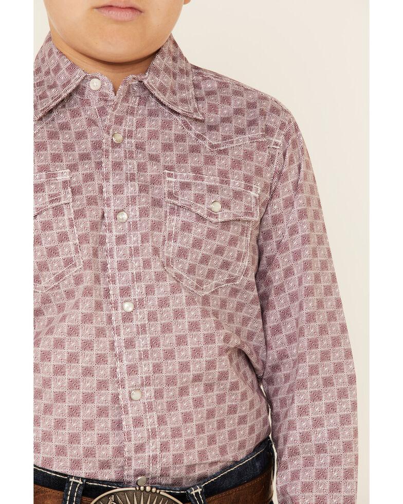 Wrangler 20X Boys' AC Red Geo Print Long Sleeve Snap Western Shirt , Burgundy, hi-res
