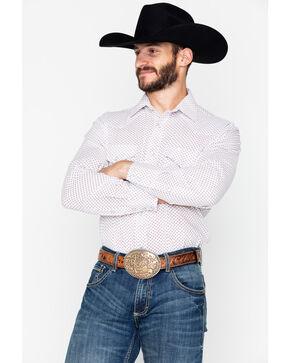 Roper Men's Geo Print Snap Long Sleeve Shirt , White, hi-res