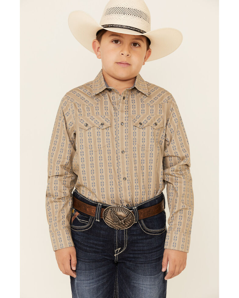 Cody James Boys' Canyon Flower Striped Long Sleeve Western Shirt , Tan, hi-res