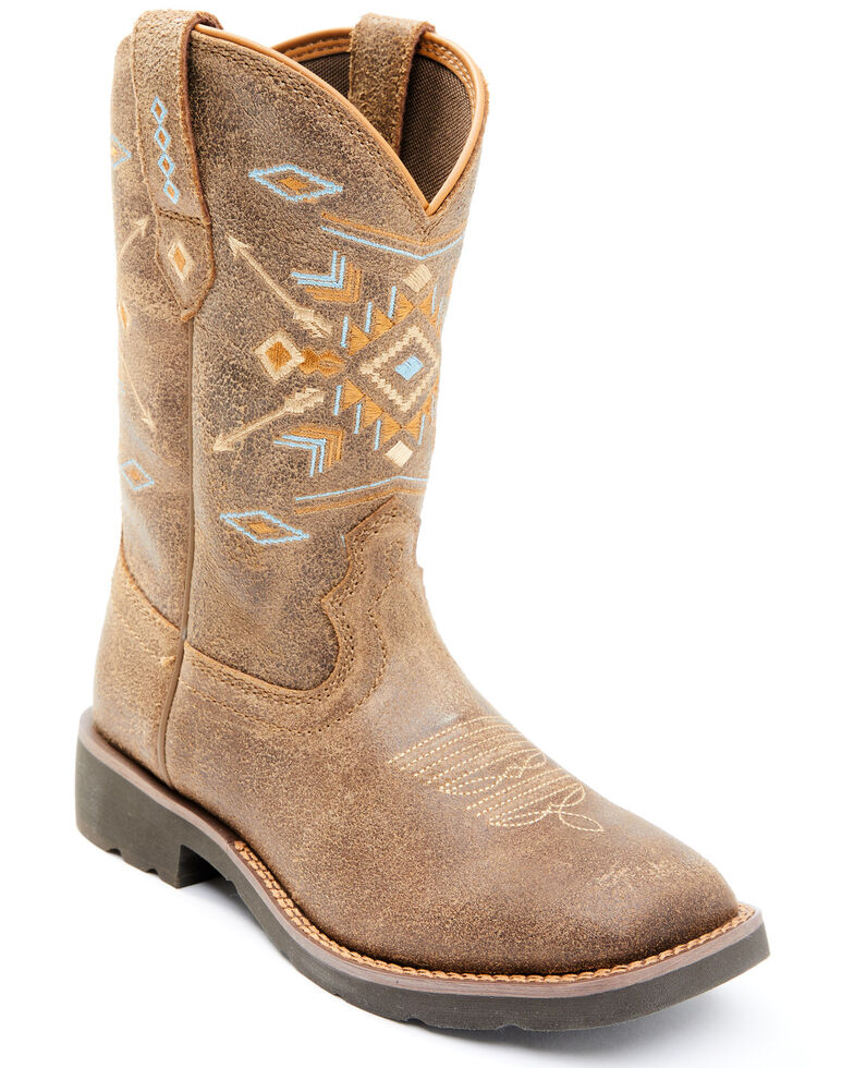 Shyanne Women's Aquinnah Western Boots - Wide Square Toe, Brown, hi-res