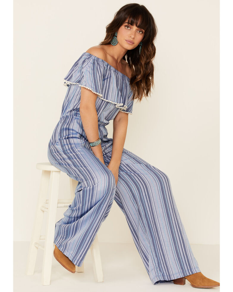 White Label by Panhandle Women's Blue Stripe Off-Shoulder Flounce Jumpsuit, Blue, hi-res