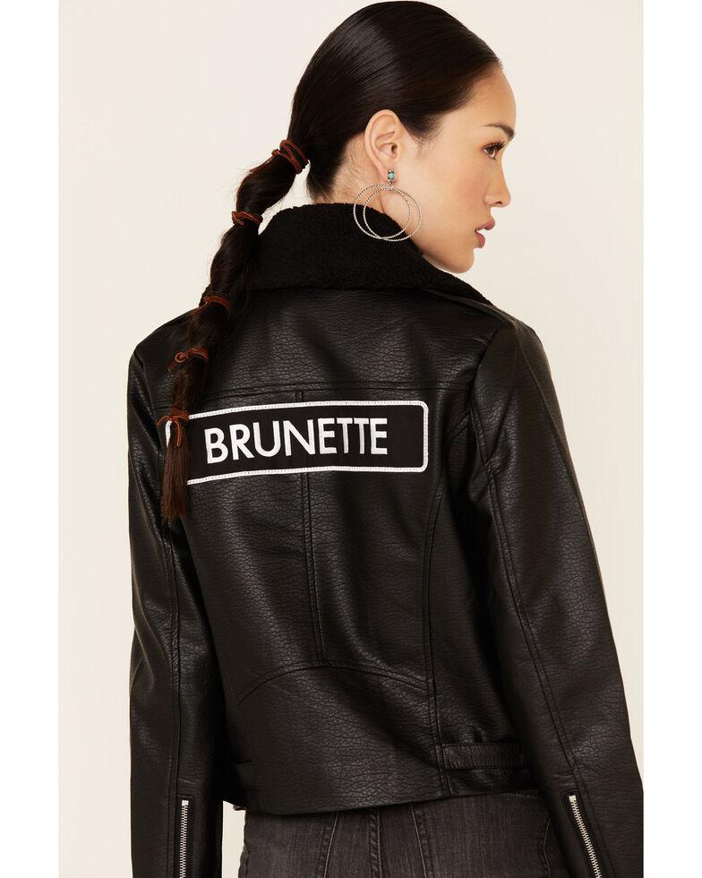 Brunette The Label Women's Black Faux Leather Brunette Patch Moto Jacket, Black, hi-res