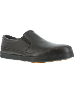 Florsheim Men's Slip-On Industrial Oxford Work Shoes - Steel Toe , Dark Brown, hi-res