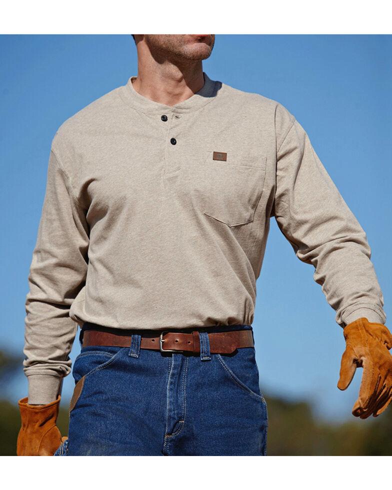 277954068772 Zoomed Image Wrangler Men's Riggs Workwear Oatmeal Long Sleeve Henley Shirt  - Big, Oatmeal, hi-