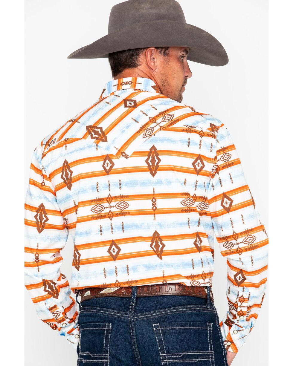 Rock & Roll Cowboy Aztec Print Long Sleeve Western Shirt, Orange, hi-res