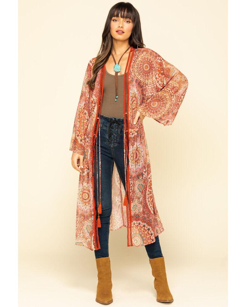 Miss Me Women's Red Medallion Sheer Duster Kimono , Rust Copper, hi-res