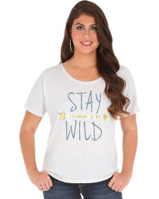 Wrangler Women's Short Sleeve Stay Wild Tee, Cream, hi-res