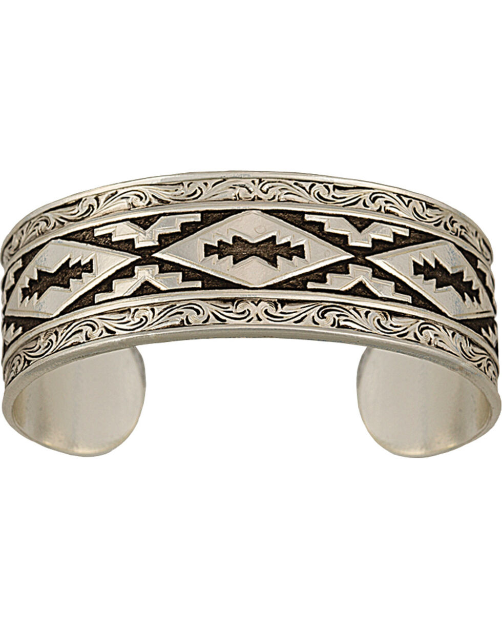 Montana Silversmiths Antiqued Aztec Steps Cuff Bracelet, Silver, hi-res