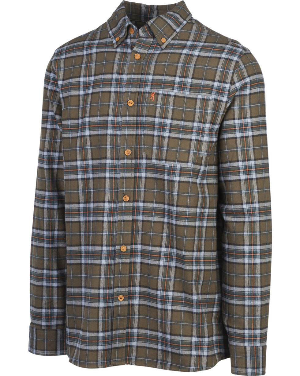 Browning Men's Green Crawford Flannel Shirt , Green, hi-res