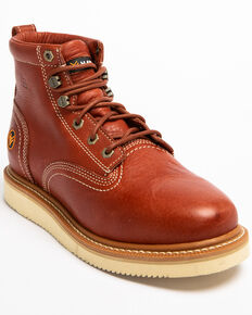 Hawx® Men's Grade Wedge Work Boots - Round Toe, Red, hi-res
