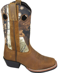 Smoky Mountain Youth Boys' Mesa Camo Western Boots - Square Toe, Brown, hi-res
