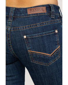 Rock & Roll Cowgirl Women's Check Mark Embroidered Riding Bootcut Jeans , Dark Blue, hi-res