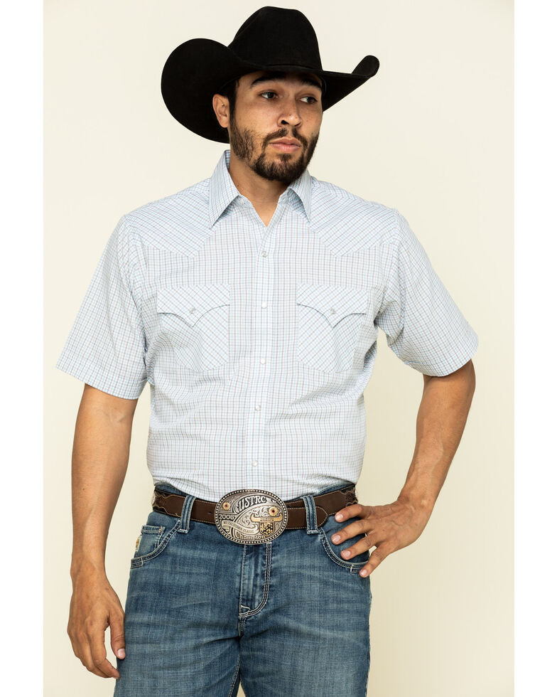 Ely Cattleman Men's Multi Mini Check Plaid Short Sleeve Western Shirt - Tall, White, hi-res