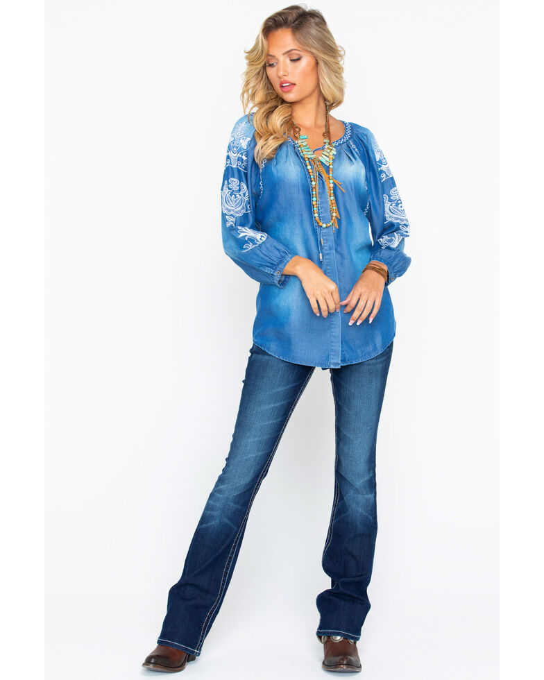 Wrangler Women's Embroidered Chambray Drawstring Long Sleeve Top, Blue, hi-res