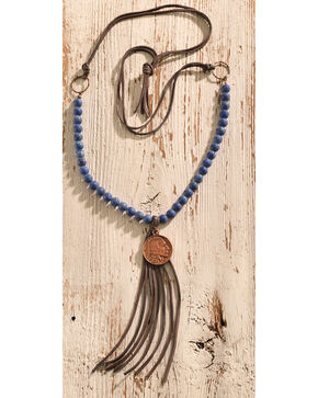 Jewelry Junkie Frosted Blue Lapis with Indian Head Coin Necklace, Blue, hi-res