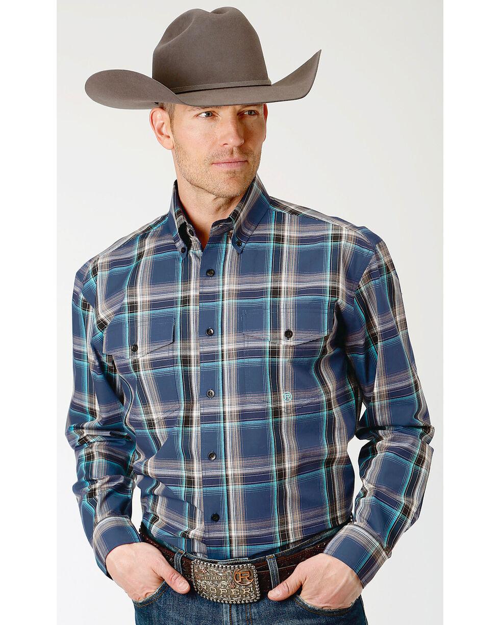 Roper Men's Winter Plum Plaid Long Sleeve Button Down Shirt, Purple, hi-res
