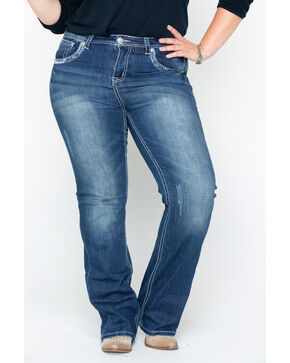 Grace in LA Women's Aztec Pocket Boot Cut Jeans - Plus, Indigo, hi-res