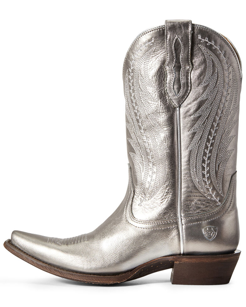Ariat Women's Leather Tailgate Silver Metallic Western Boots - Snip Toe, Grey, hi-res