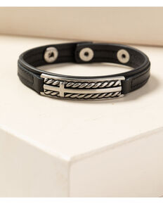 Moonshine Spirit Men's Barbed Wire Roped Leather Bracelet, Silver, hi-res