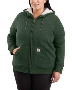 Carhartt Women's Green Heather Clarksburg Sherpa-Lined Hoodie - Plus, Green, hi-res
