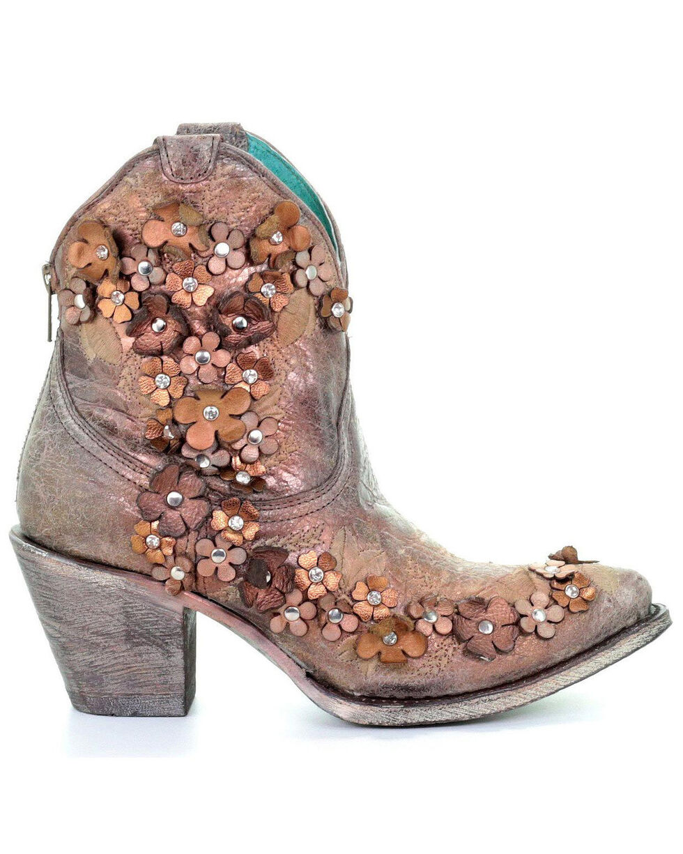 Corral Women's Floral Overlay Embroidered Booties - Pointed Toe , Brown, hi-res