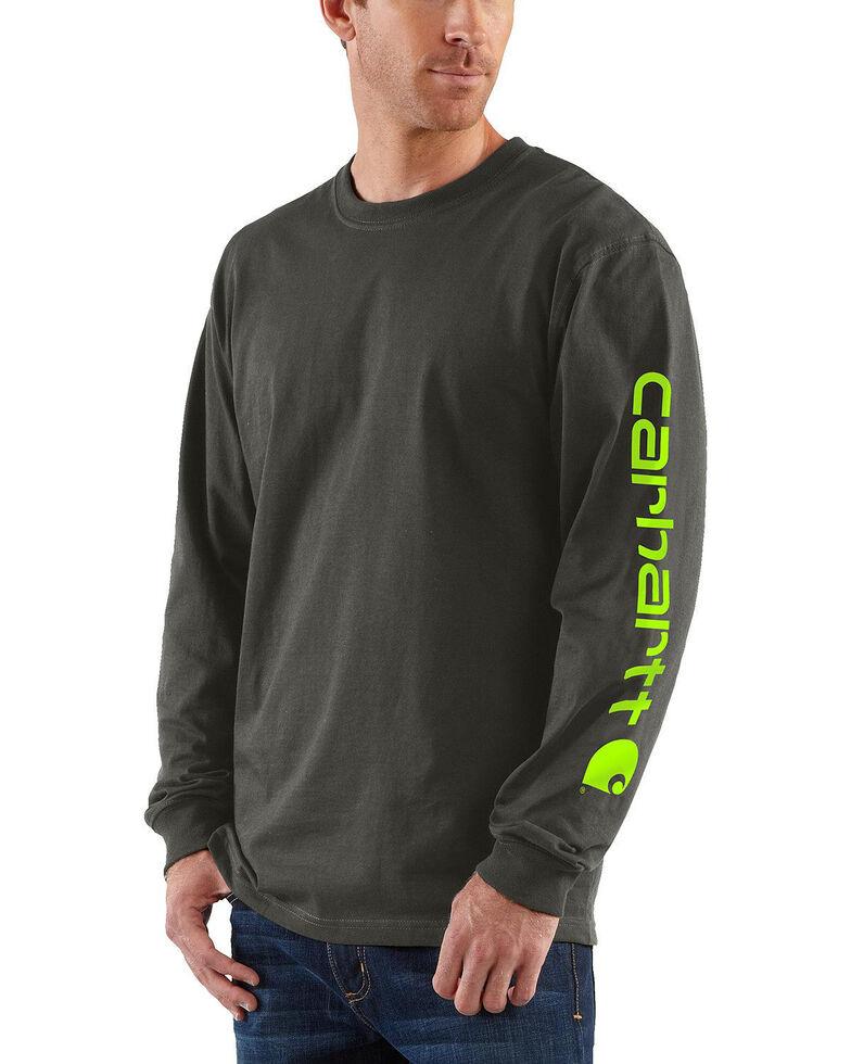 Carhartt Men's Long Sleeve Graphic T-Shirt, Bark, hi-res
