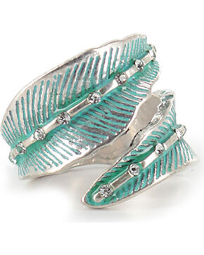 Shyanne® Women's Feather Wrap-Around Ring, Turquoise, hi-res