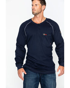 Cinch Men's Flame Resistant Raglan Henley Long Sleeve Work Shirt , Navy, hi-res
