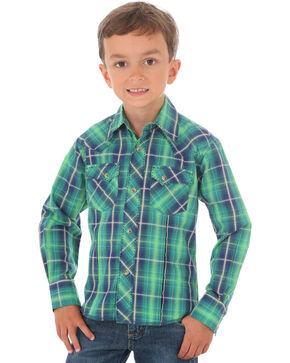 Wrangler Boys' Green Fashion Plaid Long Sleeve Shirt , Green, hi-res