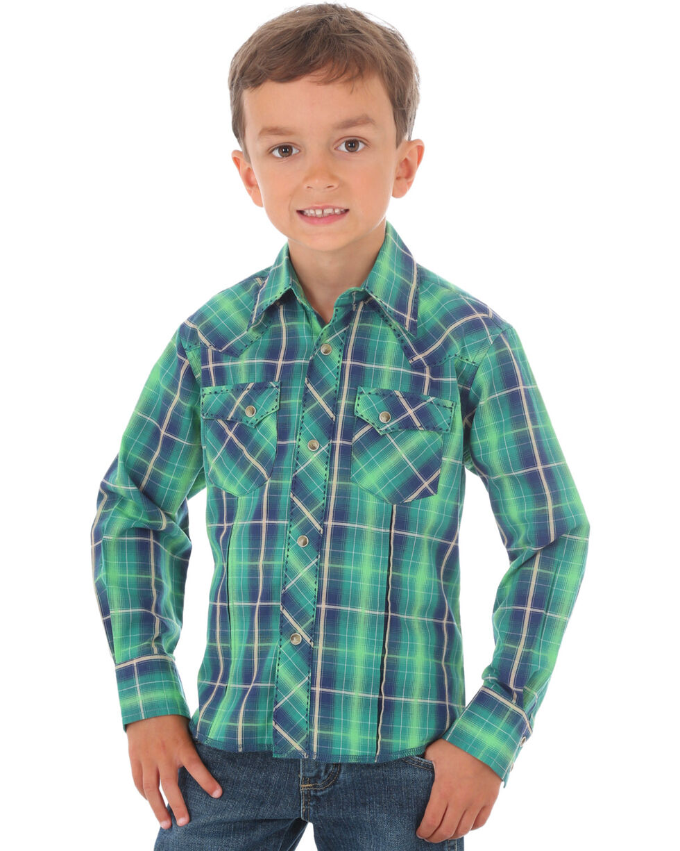 Wrangler Boys' Green Fashion Plaid Long Sleeve Shirt , Green, hi-res