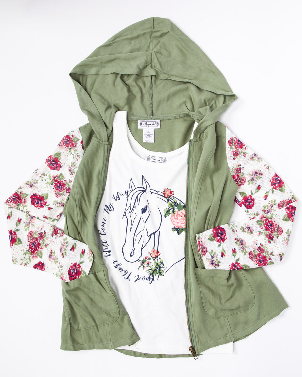 Shyanne Girls' Anorak Floral Print Sweater Horse Graphic Knit Tank Set , Olive, hi-res