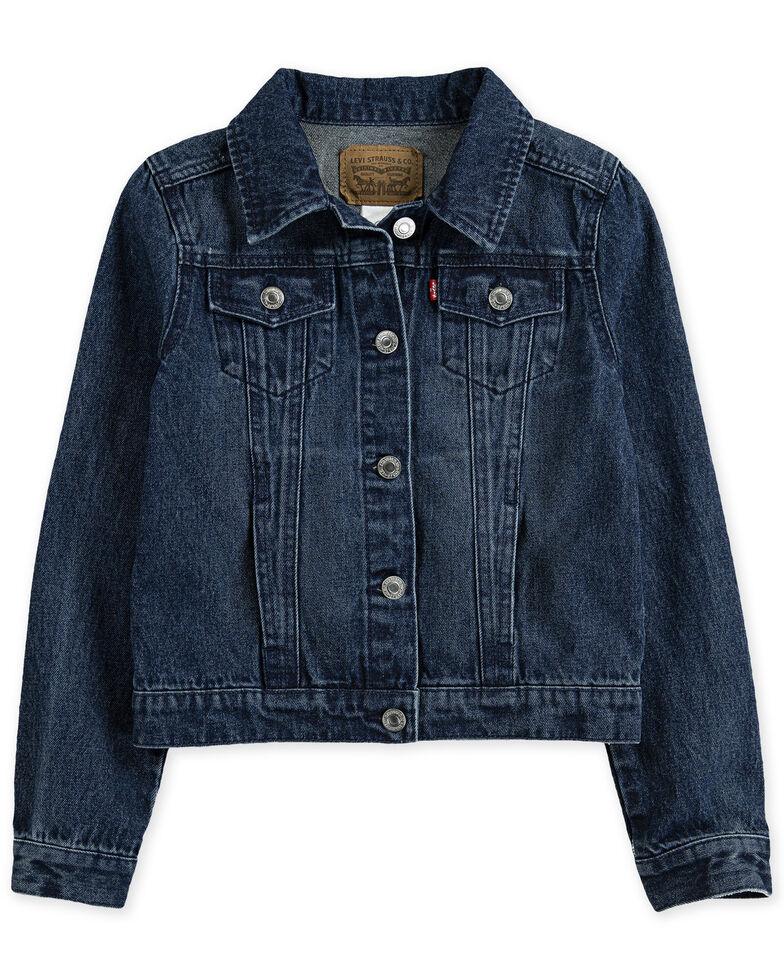 Levi's Girls' Dark Wash Denim Button-Front Trucker Jacket , Blue, hi-res