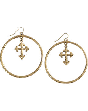Shyanne Women's Cross Hoop Earrings , Gold, hi-res