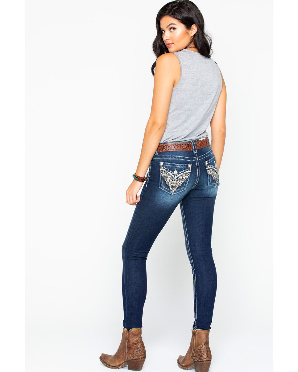 Miss Me Women's Lace Embroidery Pocket Skinny Jeans , Dark Blue, hi-res