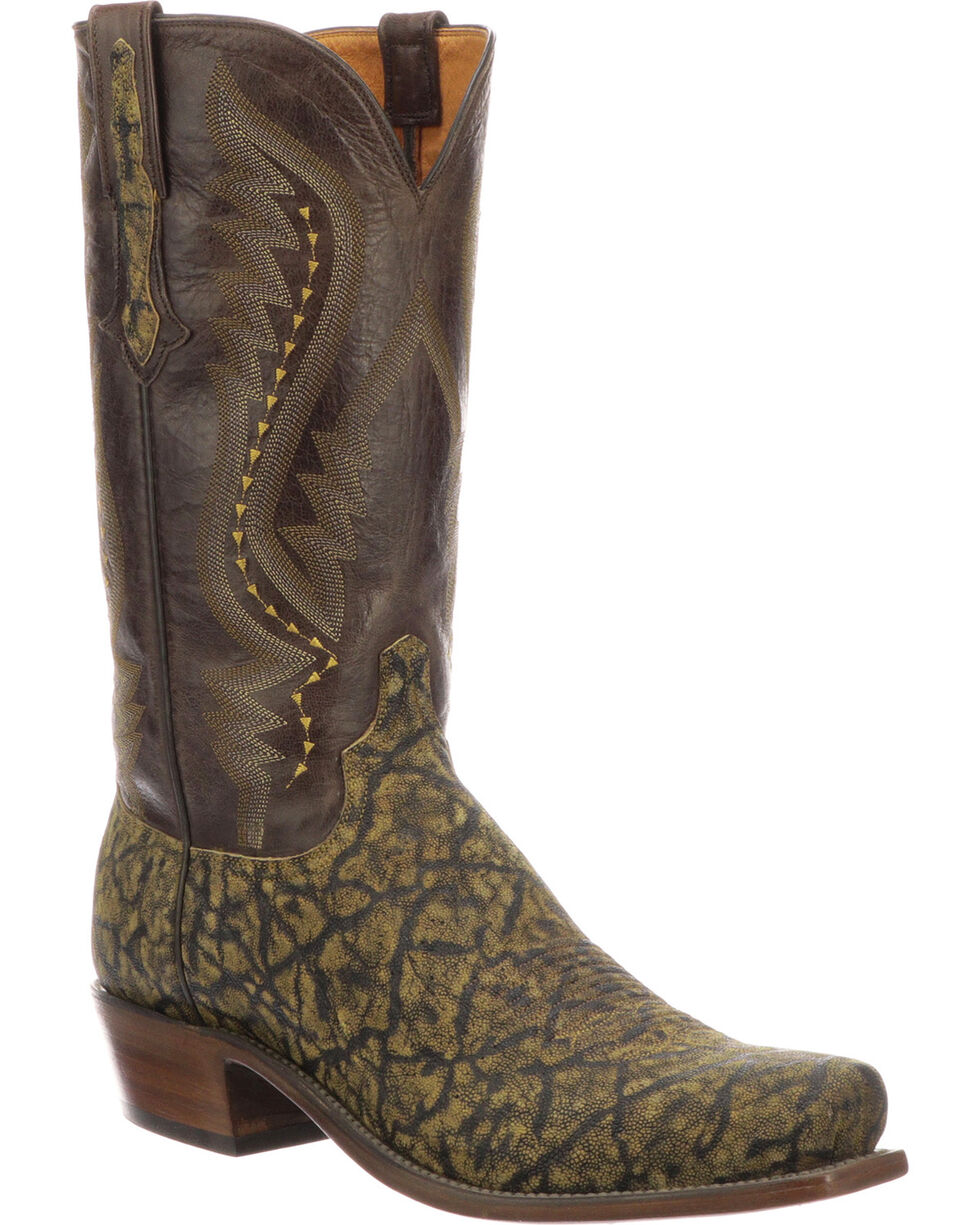 Lucchese Men's Handmade Creighton Brown Elephant Cowboy Boots - Snip Toe, Brown, hi-res
