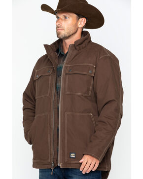 Berne Men's Modern Chore Work Coat- Big and Tall , Bark, hi-res