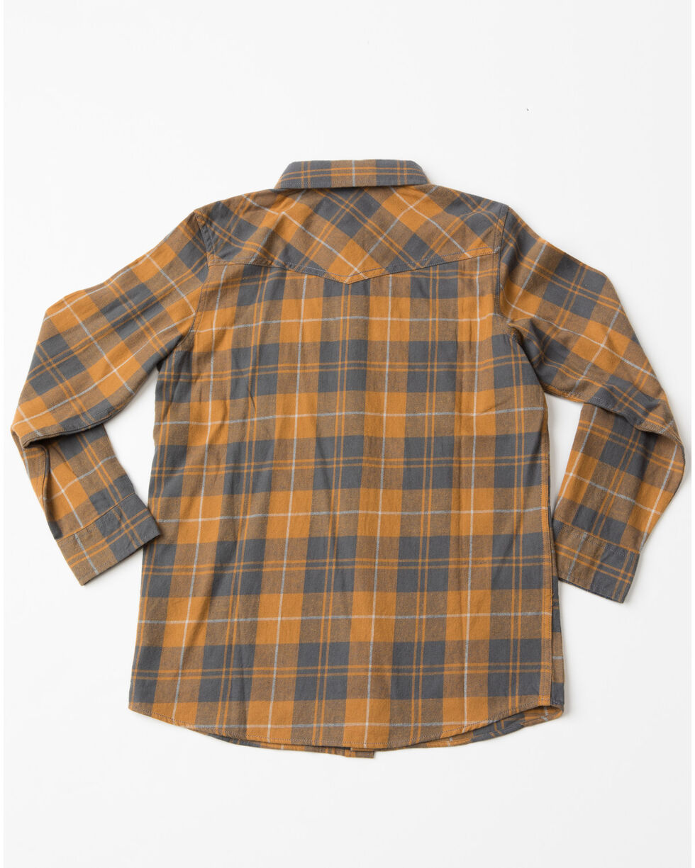 Cody James Boys' Cordova Plaid Long Sleeve Flannel Shirt , Brown, hi-res