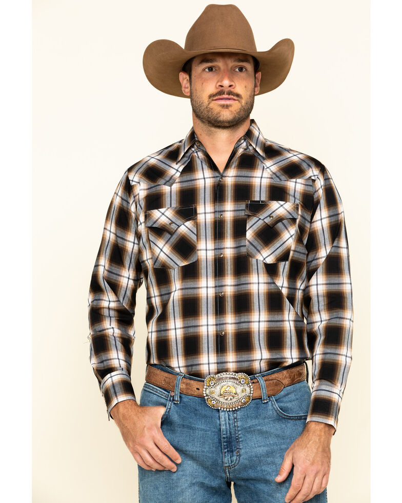 Ely Cattleman Men's Khaki Plaid Long Sleeve Western Shirt - Tall, Beige/khaki, hi-res