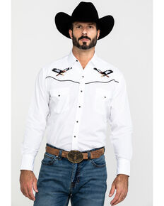 Ely Cattleman Men's Long Sleeve Eagle Embroidery Western Shirt, White, hi-res