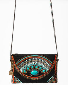 Mary Frances Women's Mini Girl Tribe Beaded Crossbody Handbag, Black, hi-res