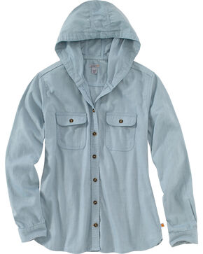Carhartt Women's Light Blue Belton Solid Shirt , Light Blue, hi-res