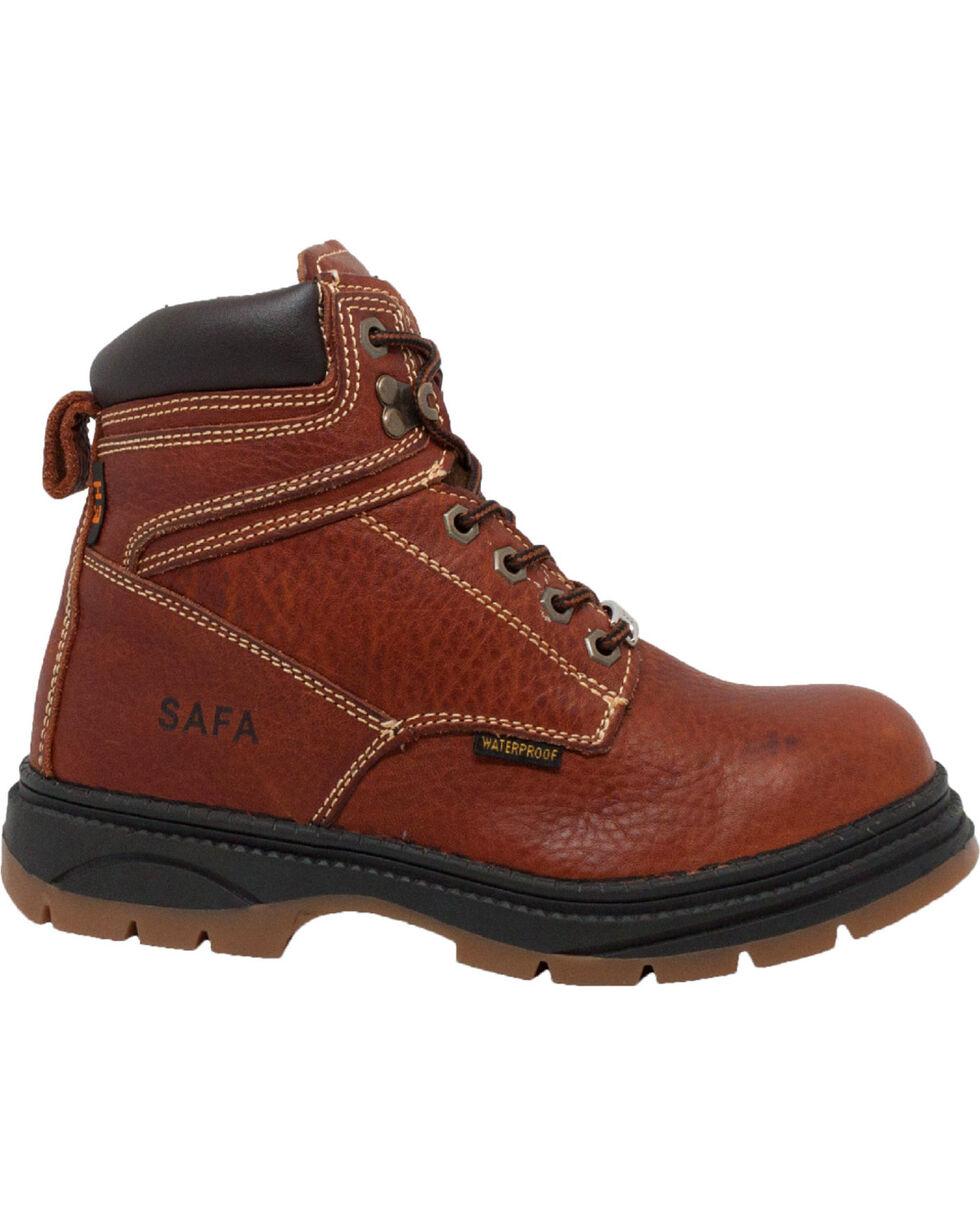 "Ad Tec Men's 6"" Dark Brown Waterproof Work Boots - Steel Toe, Dark Brown, hi-res"