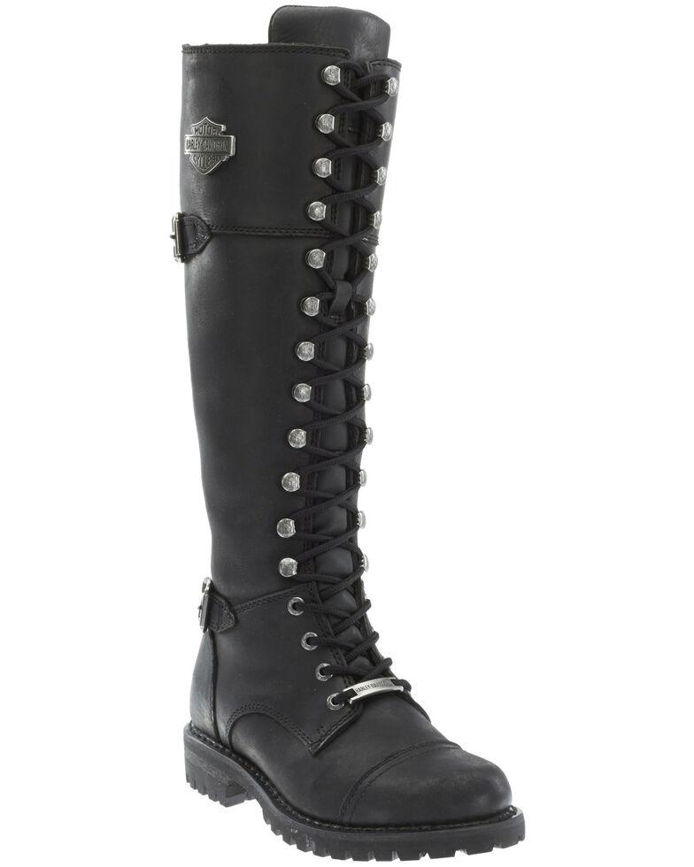 Harley Davidson Women's Beechwood Moto Boots - Round Toe, Black, hi-res