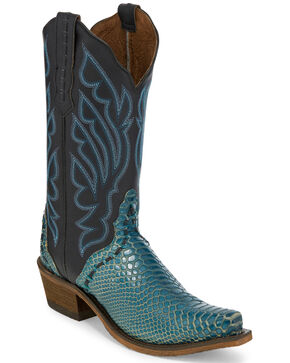 Nocona Women's Snake Print Western Boots, Turquoise, hi-res
