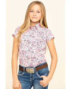 Shyanne Girls' Floral Snap Short Sleeve Western Shirt, Pink, hi-res