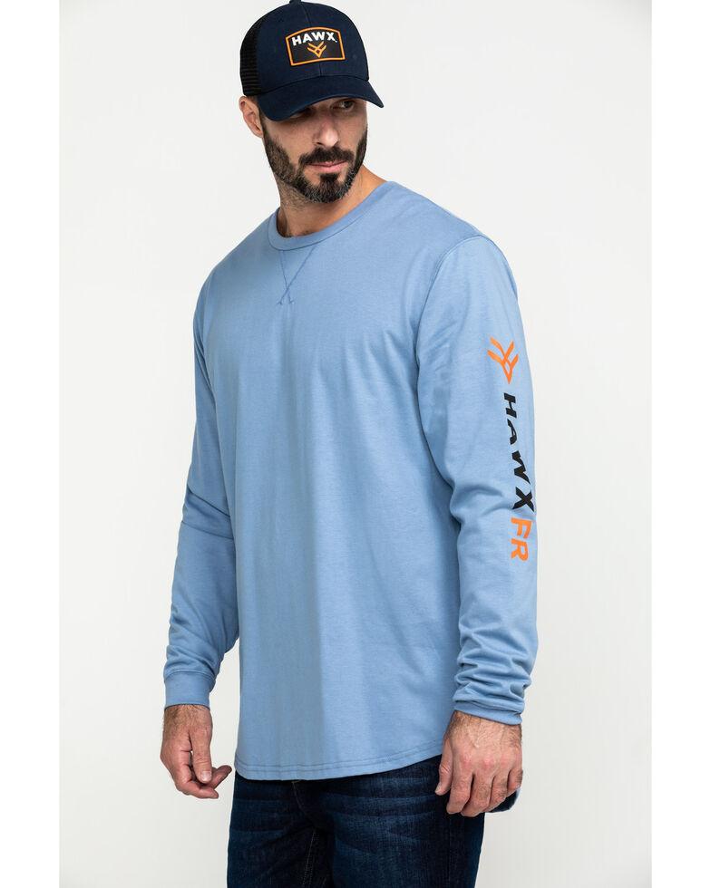 Hawx Men's Flame Resistant Logo Long Sleeve Work T-Shirt, Blue, hi-res