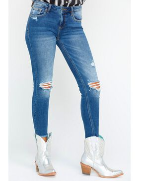 Miss Me Women's Blue Distressed Jeans - Skinny , Blue, hi-res